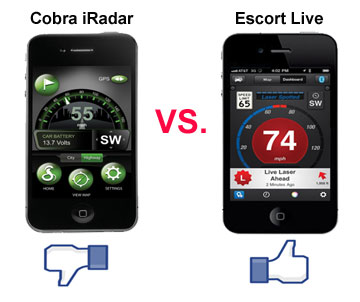 cobra iradar vs escort live